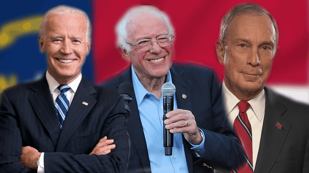 Graphic of Joe Biden, Bernie Sanders, and Michael Bloomberg