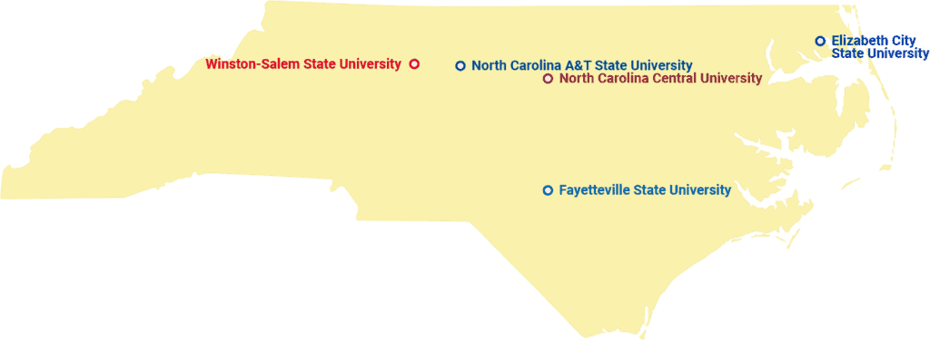 MAP of UNC System HBCUs
